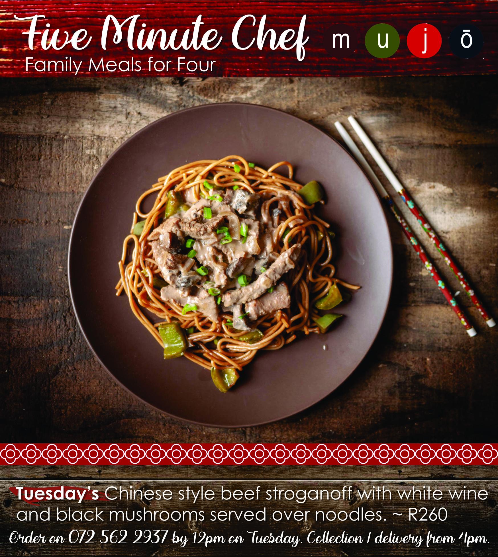 Five Minute Chef Chinese stroganoff