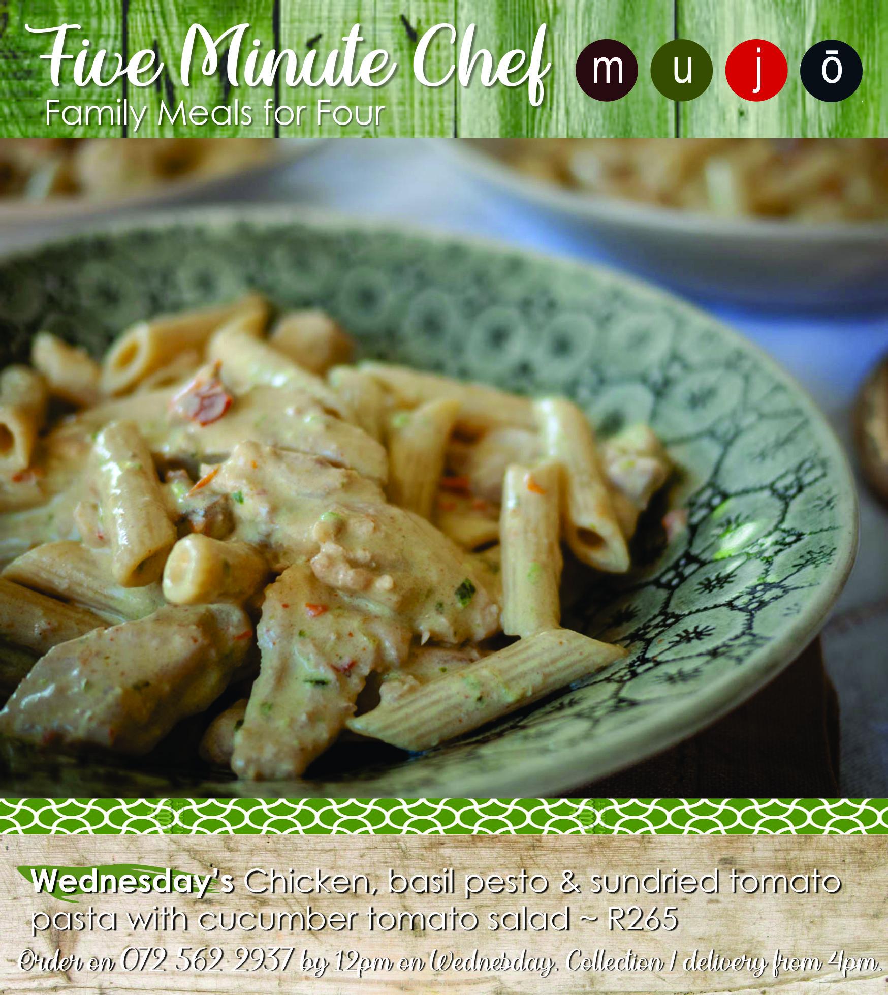 Five Minute Chef chicken pesto pasta